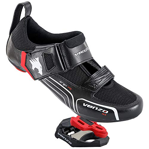 Venzo Cycling Bicycle Triathlon Outdoor Men Road Bike Shoes Compatible with Shimano SPD SL Look Black - with Sealed Bearing Road Bike Pedals 42