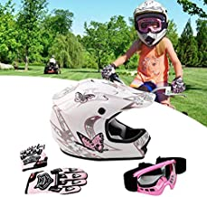 SLMOTO Dot Youth Kids Helmet Motocross Offroad Street Helmet Motorcycle Helmet Dirt Bike Motocross ATV Pink Butterfly Design Helmet+Goggles+Gloves Small Medium