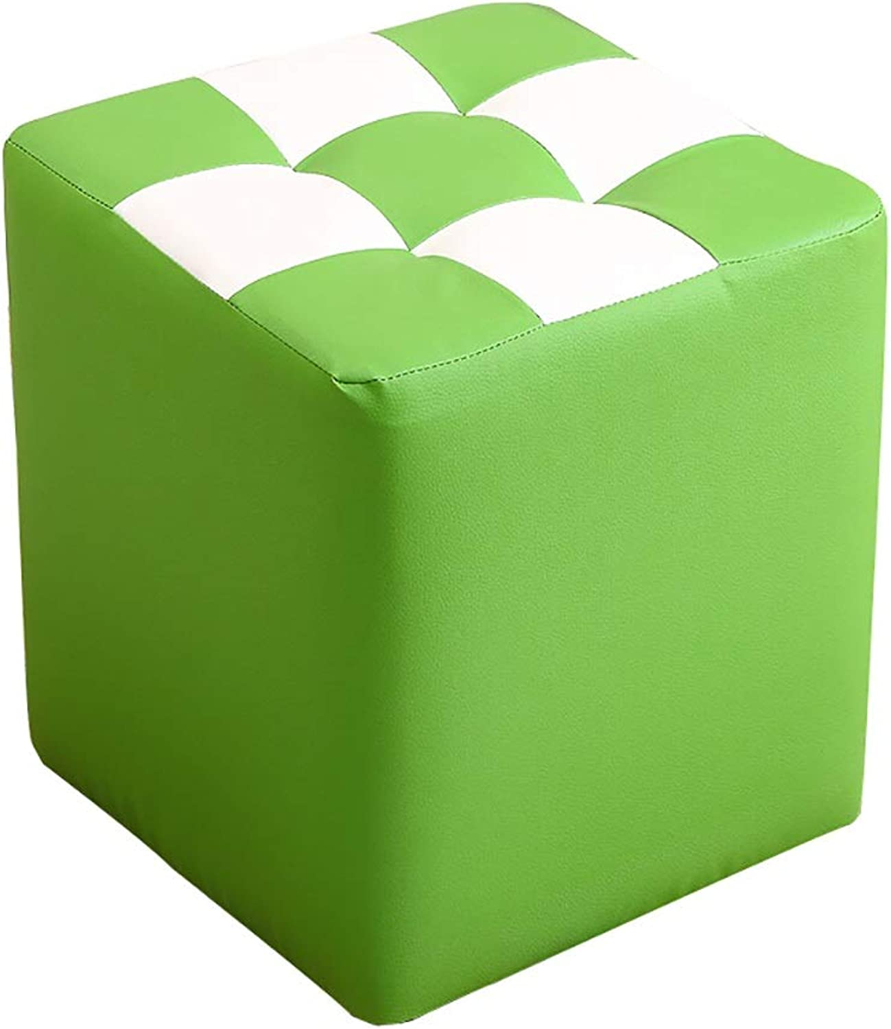 Square Footstool shoes Bench Makeup Stool Sofa Stool Artificial Leather Breathable wear Smooth and Easy to Clean 32  35cm (5 colors) (color   Green)