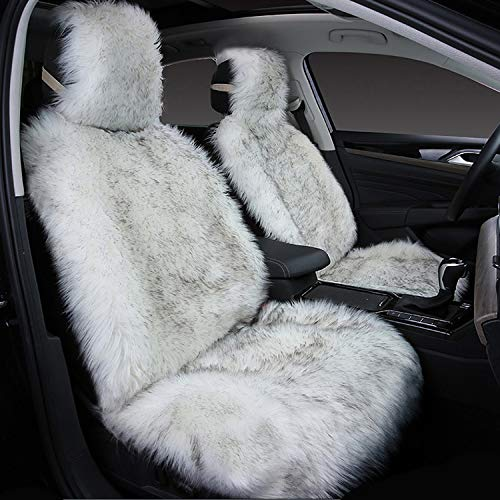 1Pack Faux Sheepskin Wool Fur Car Seat Cover for Cars SUV Trucks Universal Fit, Soft Plush Synthetic Wool Buck Fur Car Seat Cushions (White Gray)