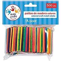 Dohe 18107-Pack de 500 palitos de Madera, Color Surtidos (18107)