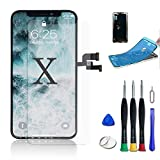 WYNT OLED for iPhone X Compatible Screen Replacement 5.8 inch OLED Display 3D Touch Screen with Complete Repair Tools Including a Screen Protector Touch ID Face ID Waterproof Glue Instruction Black