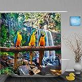 QINCO Duschvorhang,Blauer & gelber Papagei,personalisierte Deko Badezimmer Vorhang,mit Haken,180 * 210