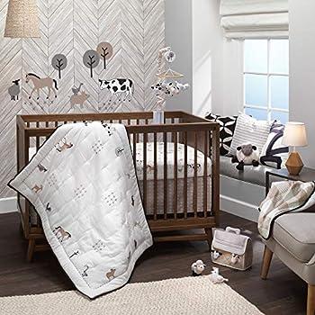 Lambs & Ivy Baby Farm Animals 5-Piece Baby Crib Bedding Set - White/Taupe