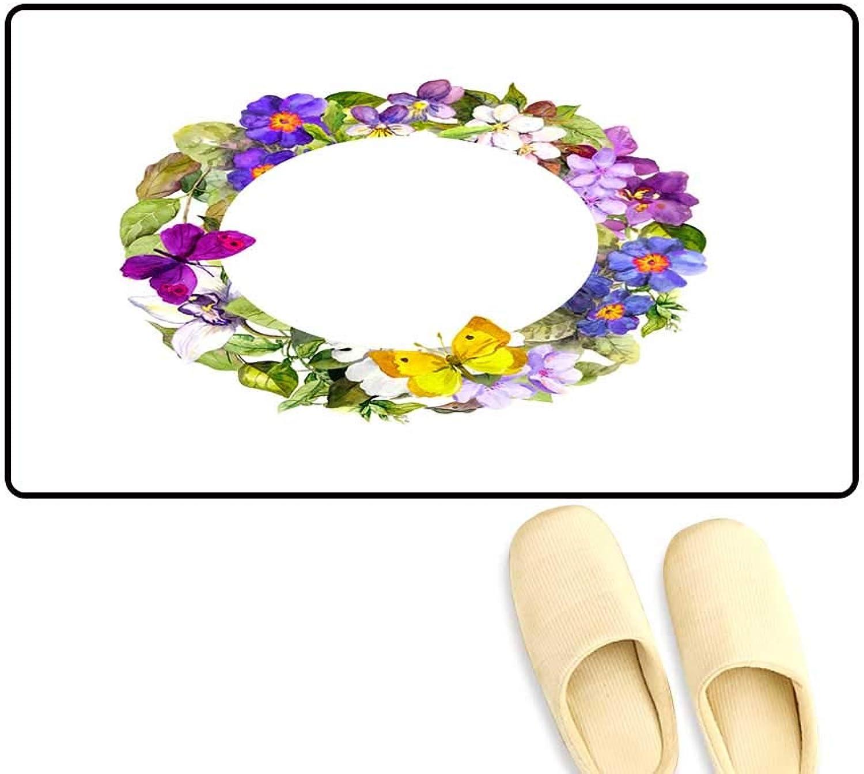 Door Mats for Inside Floral wrea Meadow Flowers wil Grass an Spring Butterflies