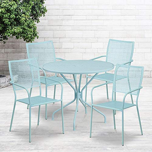 Flash Furniture Commercial Grade 35.25' Round Sky Blue Indoor-Outdoor Steel Patio Table Set with 4 Square Back Chairs