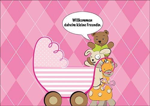 Mooie roze babykaart/wenskaart voor de geboorte van een meisje met knuffeldieren en kinderwagen: welkom thuis kleine vriendin. • Schattige welkom wenskaart, geboortekaart