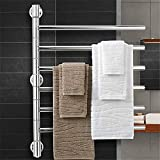 Toallero calefactable toallero toallero eléctrico con brazo oscilante de 180°, montado en la pared, acero inoxidable 304, toallero calentado, 6 brazos, superficie pulida (74055099 mm) 6