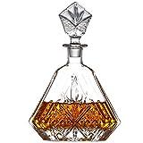 GAOXIAOMEI Decantador De Whisky Elegante Botella De Vidrio Hecha A Mano con Tapón Adornado Decantador De Whisky De Vidrio De Cristal para Whisky De Vodka Bourbon Scotch Regalo para Él