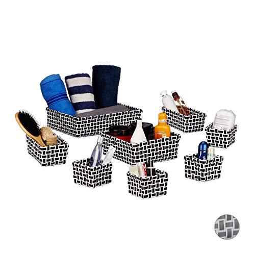 Relaxdays Aufbewahrungskorb 8er Set, Flechtoptik, Deko Körbchen, ineinander stapelbar, Korbset, Kunststoff, weiß/schwarz