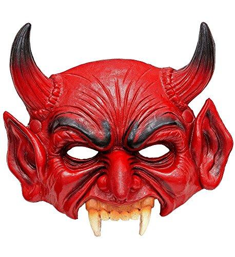 shoperama Kinnlose Teufelsmaske aus Schaumlatex Halbmaske Halloween Horror Devil Satan Fürst der Finsternis