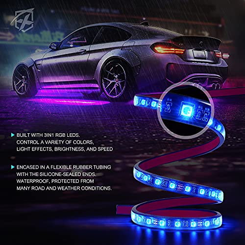 Xprite 4PCS Car Underglow Exterior and 4PCS Interior Bluetooth RGB Lights Kits, Underbody Glow & Footwell Neon Ambient Lighting Strip, w/ APP Control & Wireless Remote for Cars Vehicle Trucks SUV