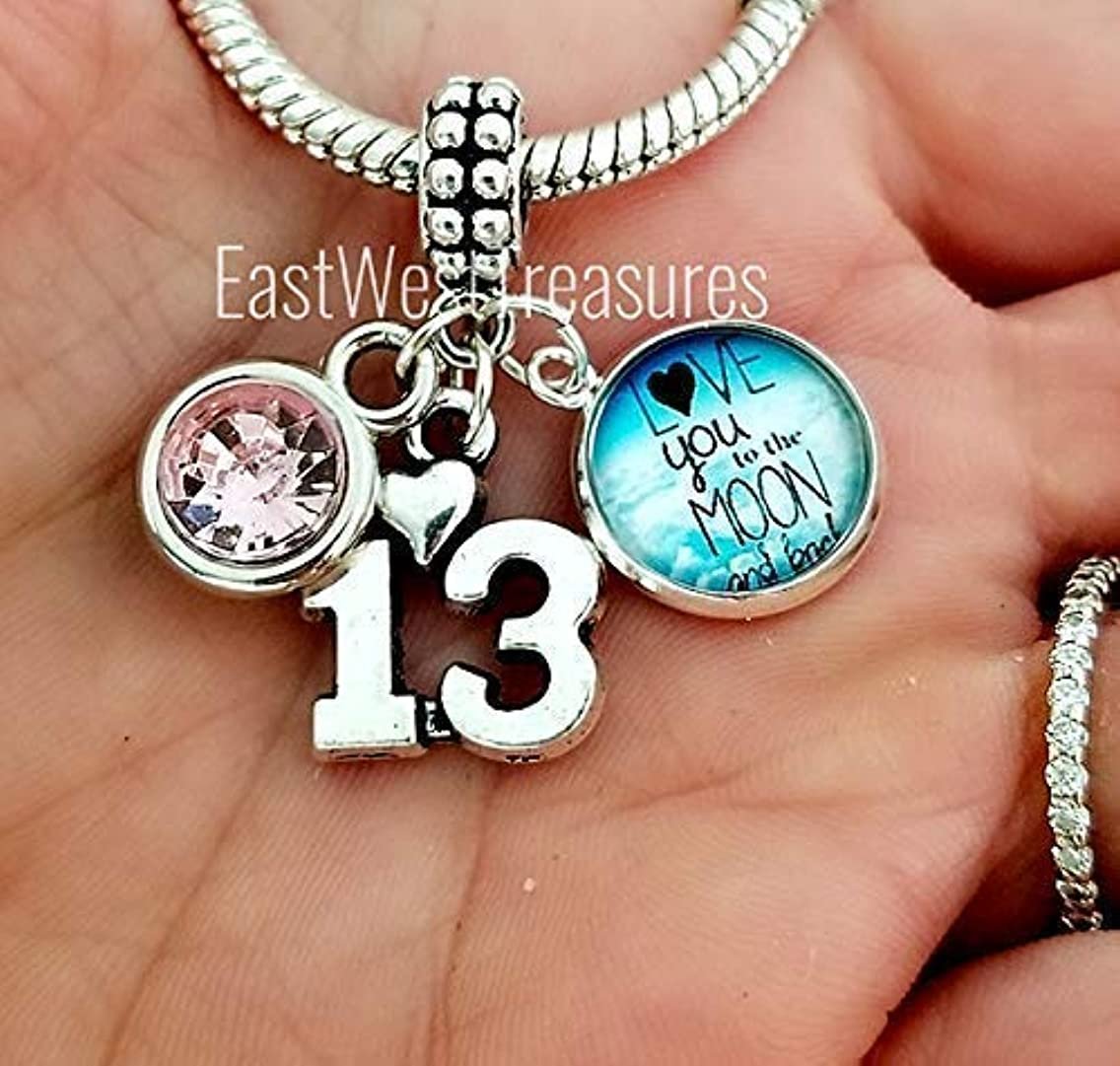 Personalized custom 13th birthday wedding anniversary charm bracelets and necklaces-Lucky Number 13 Jewelry gifts for women
