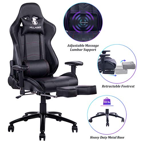 Blue Whale Massage Gaming Chair - Big and Tall 350lbs High Back Racing Computer Desk Office Chair Swivel Ergonomic Executive Leather Chair with Footrest and Adjustable Armrests, Black black chair gaming