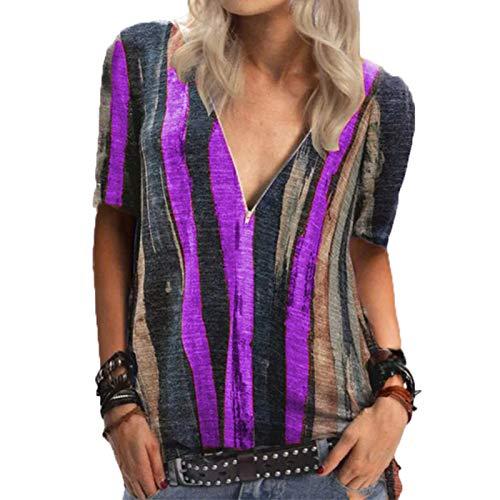 SLYZ Camiseta De Manga Corta con Estampado De Rayas Teñidas Anudadas para Mujer De Verano Camiseta con Cuello En V Y Cremallera para Mujer