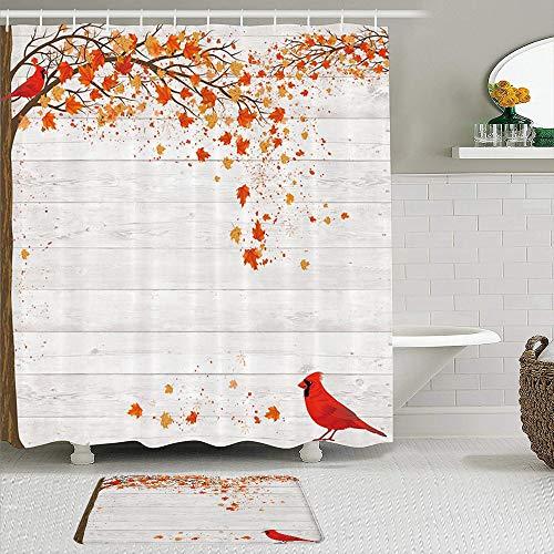 YiiHaanBuy Stoff Duschvorhang & Matten Set,Herbst Herbst Ahorn Blätter Kardinal Vogel auf grauem Holz Land Scheunenwand,Wasserabweisende Badvorhänge mit 12 Haken,rutschfeste Teppiche