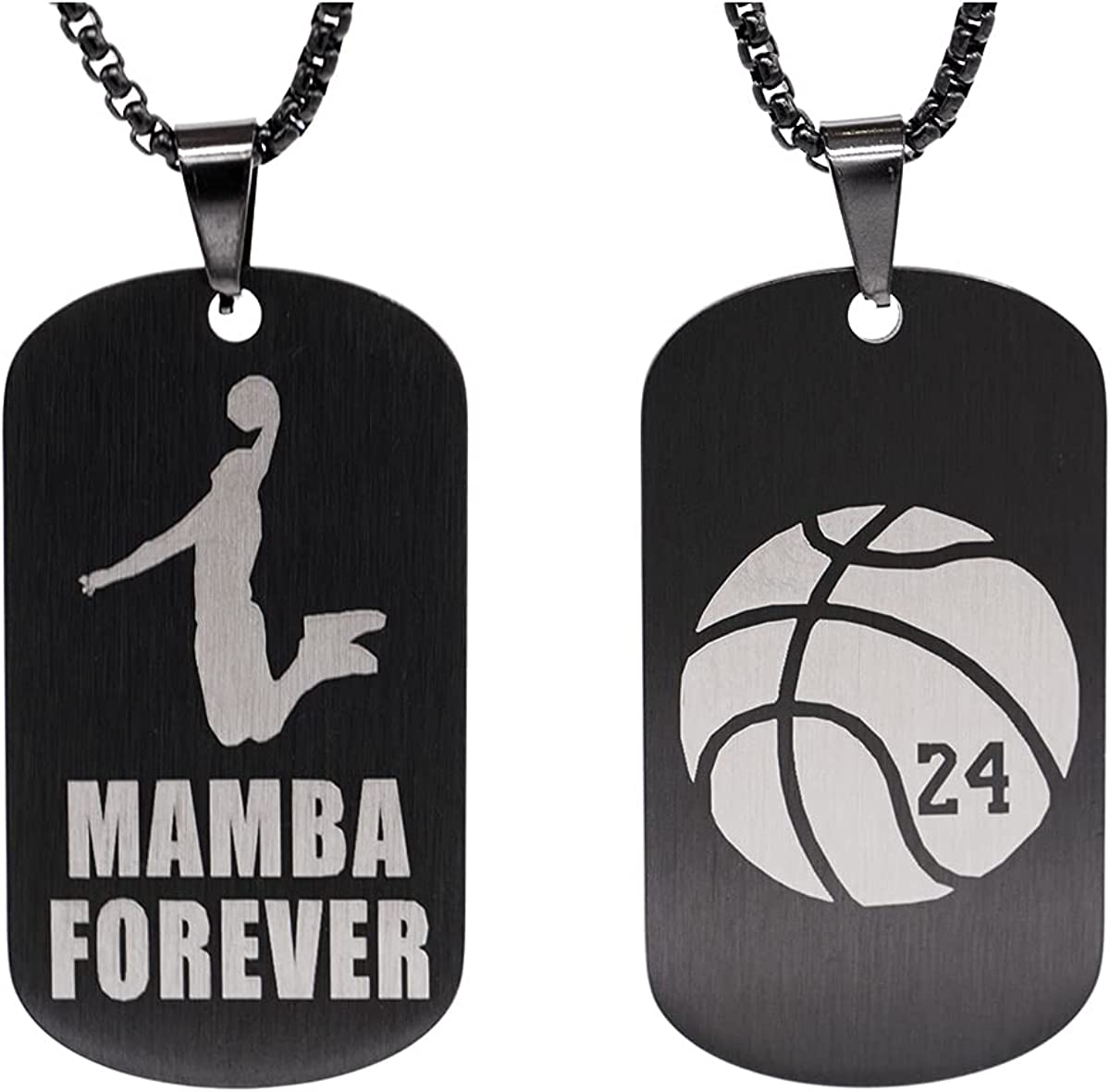 Black Mamba Pendant Basketball Necklace for Men Boys, Stainless Steel Memorial Souvenir Dog Tag Pendant Necklace, Military Tag with 27