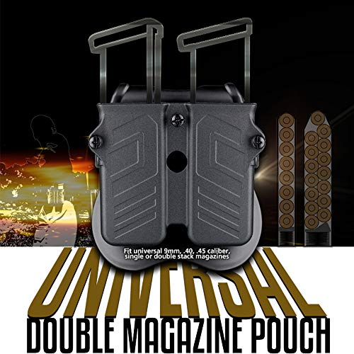 Magazine Holder for 9mm 10mm .40 .45 Caliber Double & Single Stack Mags, Universal Mag Pouch for 1911 Glock S&W Springfield Ruger Sig Beretta Taurus Walther CZ H&K -Adjustable Size & Direction