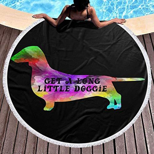 Toalla de Playa Redonda Perrito Lindo Tie Dye Daschund Grande con borlas Ultra Suave Lanzamiento de Playa Multiusos 59 Pulgadas