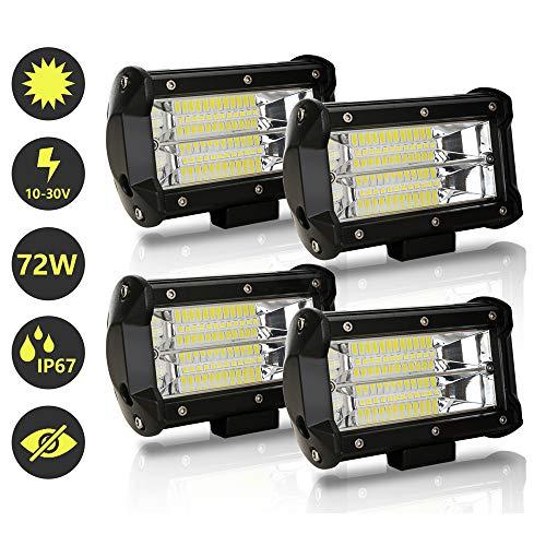 Hengda LED Arbeitsscheinwerfer, 4x 72W Zusatzscheinwerfer 12V 24V 18400LM LED Scheinwerfer für Traktor, Offroad, SUV, ATV, Auto Rückfahrscheinwerfer IP67, 6500K