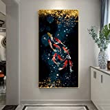 Koi Fish Feng Shui Carp Lotus Pond Pictures Canvas Painting Wall Art para sala de estar Modern Home Decor 50X100cm