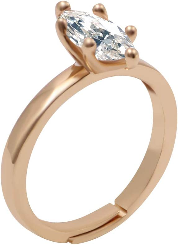 BASICFASHION 18k Gold 1.0 Carat Marquis Zirconia Solitaire Engagement Bridal Ring