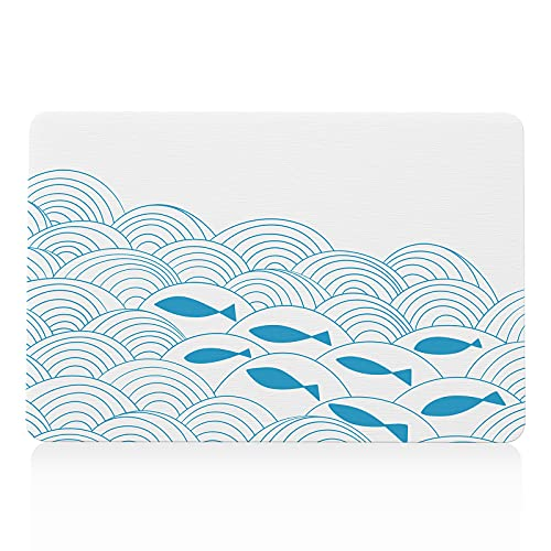 バスマット 珪藻土 アスベストなし 珪藻土マット 速乾 吸水性 調湿 洗濯不要 SGS認証済み 珪藻土バスマット 足ふきマット 滑り止めシート付き 抗菌 防カビ 防ダニ キッチンマット 大きい(39X60cm,魚)