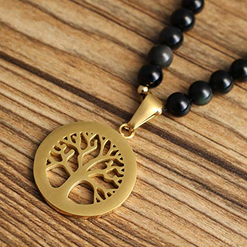 COAI Tree of Life Pendant Tiger Eye Obsidian Stone 108 Beads Mala Necklace