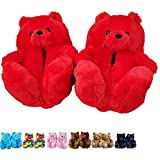 Blivener Womens Slippers Plush Teddy Bear Slippers, Cute Fluffy Warm House Bedroom Slipper, Cozy Soft Home Indoor Shoes Red