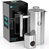 CAFETERA DE EMBOLO de primera calidad. Prensa francesa de doble pared, 8 tazas de capacidad, ideal para conseguir un intenso café. Incluye mini recipiente de café - De Coffee Gator