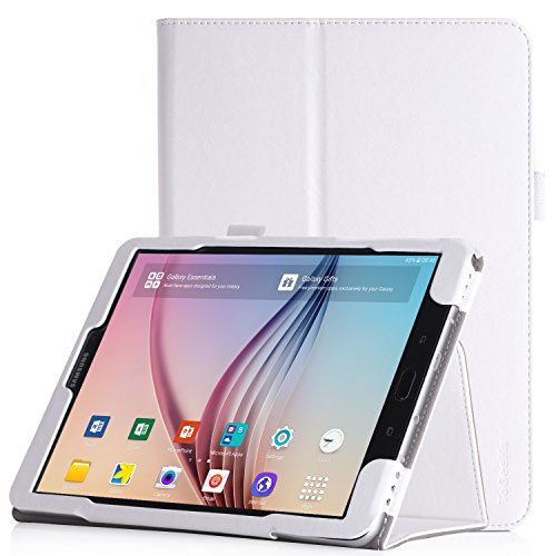 iHarbort Samsung Galaxy Tab S3 9.7 Case, PU Leather Stand Cover Case Holder Compatible Galaxy Tab S3 9.7 inch SM-T820 T825 with auto Sleep/Wake Function, Hand Strap and Card Slot, White
