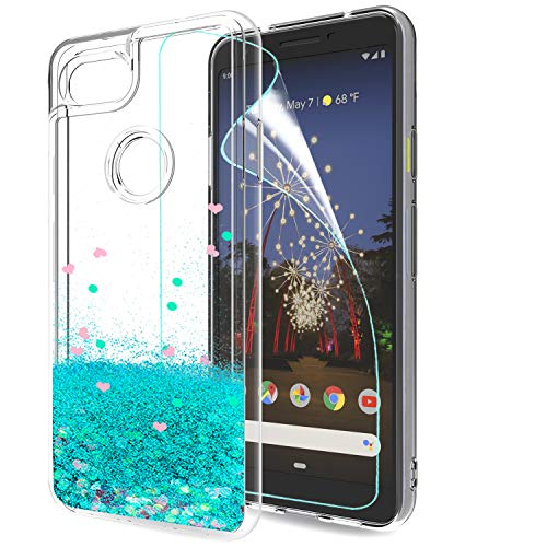LeYi Case for Google Pixel 3a with Screen Protector, Girl 3D Glitter Liquid Cute Luxury Personalised Clear Transparent Silicone Gel TPU Shockproof Phone Cover for Google Pixel 3aTurquoise