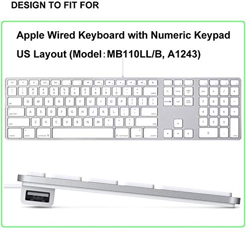 OJOS Ultra Thin TPU Keyboard Cover Skin for Apple iMac Keyboard Numeric Keypad Wired USB A1243 (NOT FIT Magic Keyboard) Full Size Numeric Keypad Protector (Transparent Clear)