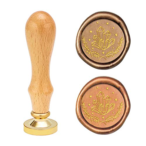 CRASPIRE Sello de cera de cristal vintage sello de sellado de cera retro 25 mm reemplazable cabeza de latón mango de madera para sobres, invitaciones