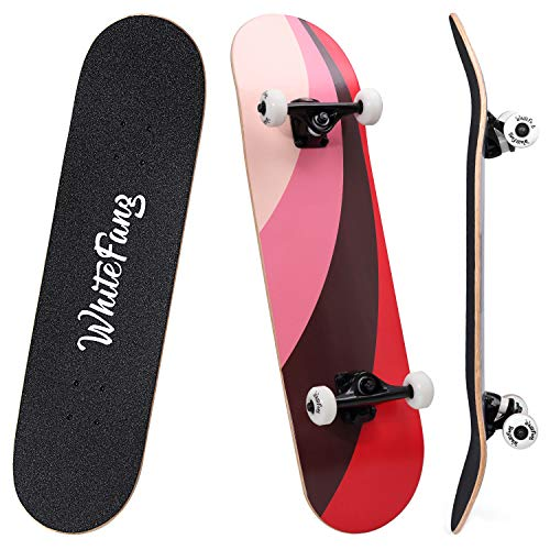 WhiteFang Skateboards 31 Inch Complete Skateboard Double Kick Skate Board 7 Layer Canadian Maple Deck Skateboard for Kids and Beginners (Fun Passion)