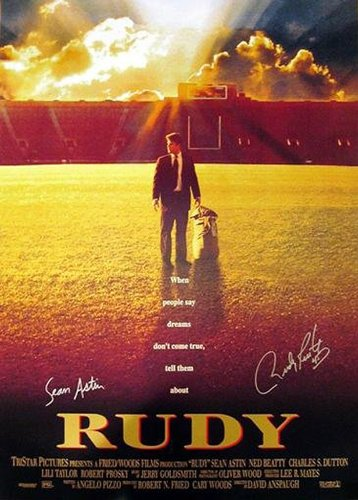 Rudy Ruettiger & Sean Astin Dual Autographed/Signed Rudy Movie Poster