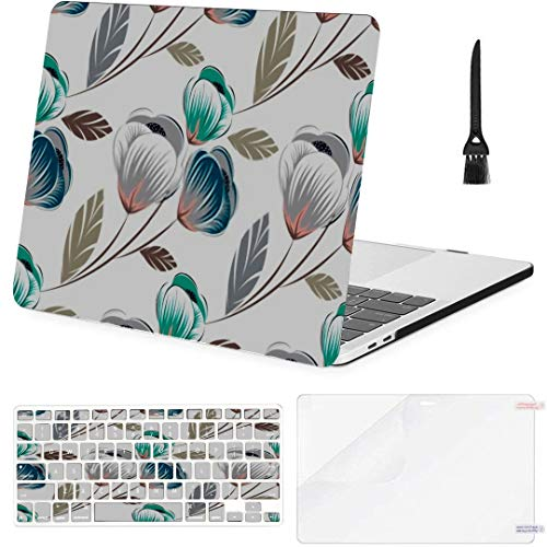 MacBook Pro 13 Inch Case Seamless Cute Floral Pattern MacBook Air 13 Inch Case with Keyboard Cover Screen Protector Cleaning Brush