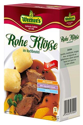 Werner´s Rohe Klöße im Kochbeutel 6 Stück, 6 Packungen pro Karton, ohne Farbstoffe, ohne zugesetzte Aromen, fettarm, einzeln entnehmbar,