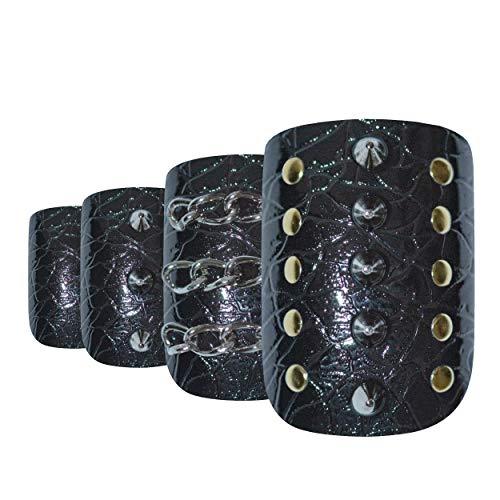 Faux Ongles Bling Art Noir Crystal Squoval 24 Moyen Faux bouts d'ongles acrylique avec de la colle