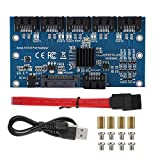 Portátil SATA3.0 1 a 5 Tarjeta de expansión Discos Duros Adaptador Convertidor Placa Base 6Gbps Interfaz Multiplicador Soporte PM