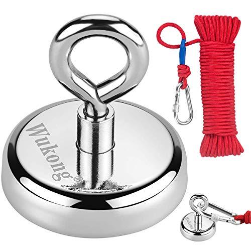 Wukong Super Stark Neodym Ösenmagnet mit 20m Seil, Haftkraft 150 Kg Power Magnet Perfekt zum Magnetfischen - Ø 60mm mit Öse Neodymium Topfmagnet