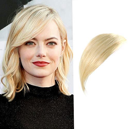 Human Hair Bangs Hair Extension Clip on Bangs Fringe Side Bangs Blonde Color