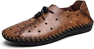 Sumuzhe Stylish and comfortable Men's Fashion Driving Loafers Casual Personality Retro Holes Breathable Boat Moccasins Summer must (Color : Brown, Size : 47 EU)