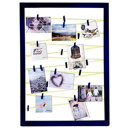 QUALIP Premium Fotohalter mit Klammern und Leine | Dunkelblau mit neongelber Fotoleine [Modern] | Bilderrahmen Collage für Postkarten, Polaroid Bilder und Fotos - Jetzt ansehen