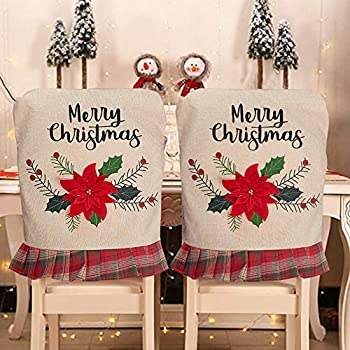 XhuangTech 2Pcs Christmas Dining Chair Covers Slipcovers Red Truck Christmas Tree/Christmas Flowers Chair Seat Back Covers Protector for Holidays Home Party Hotel Decoration  Christmas Flowers