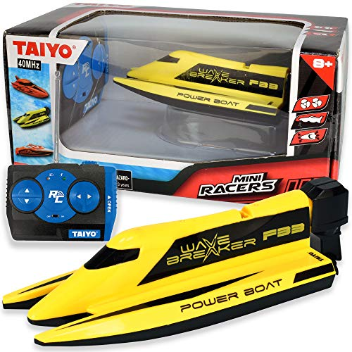 Wave Breaker - Mini RC Remote Control Boat, 1:40 Scale with Handset Quick Charger for Tub, Lake, Pond, or Ocean, High Speed, Fast Hobby Action for Kids and Adults, Yellow Speedboat, Ages 6+, T558