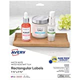 Avery Printable Blank Rectangle Labels, 1.25' x 1.75', White, 256 Customizable Labels (22828)