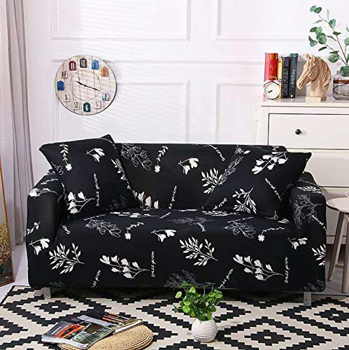Lukzer Universal Sofa Cover 3 Seater Slipcover with 2 Cushion Covers Big Elasticity Super Soft Stretchable & Flexible Couch Protector (Black with White Flowers / 180 – 230cm)
