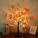 24 LEDs Ahornblatt Baum Licht, 50cm Schreibtisch Ahorn-Blätter (Herbst) Baumlicht Warmweiß,Herbst Dekoration Blätter Lichterketten für Thanksgiving, Weihnachten, Innen Deko - 2