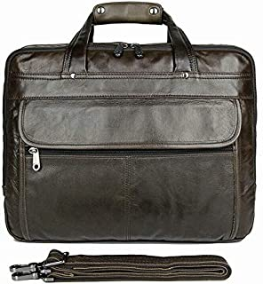 J.M.D Classic Cow Leather Business Briefcase Large Capacity Office Bag for Men